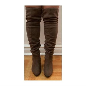 Light brown stretch suede knee high boots